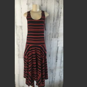 DKNY Silk Sleeveless Striped Dropwaist Midi Dress